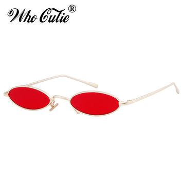 WHO CUTIE 2018 Red Small Oval Sunglasses 90S Men Women Brand Designer Fashion Pink Yellow Sun Glasses Vintage Retro Shades 512B