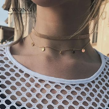LWONG Hot Sale Dainty Gold Color Disc Coin Choker Beads Charms Choker Jewelry Simple Chain Chokers Necklaces for Women Gifts