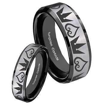 His Hers Silver Black Hearts and Crowns 2 Tone Tungsten Carbide Wedding Rings Set