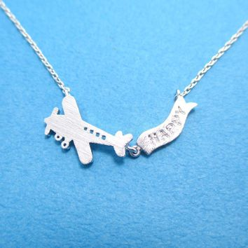 Airplane With Happy Banner Shaped Motivational Charm Necklace in Silver | DOTOLY