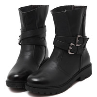 Black PU Buckle Strap Chunky Ankle Boots