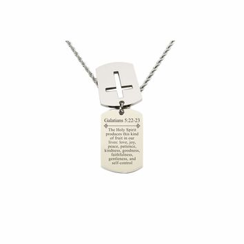 Mens Scripture Double Tag Necklace - Galatians 5:22-23