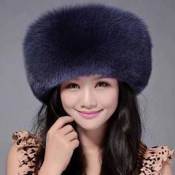 DCCKJG2 High Quality Whole Skin Real Fox Fur Hat Genuine Leather Mongolian Princess Hat Fashion Warm Fur Headgear For Ladies MS-15