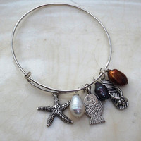 Beach Bangle Silver Plate Charm Bracelet Alex & Ani Style Silver Starfish, Flip Flop, Fish, Baroque Freshwater Pearls Gold White and Peacock
