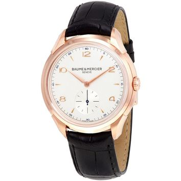 Baume and Mercier Clifton Silver Dial 18kt Rose Gold Mens Watch 10060