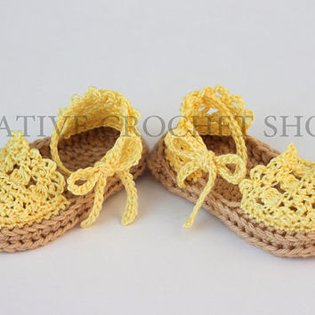 Summer Yellow Baby & Toddler Girl Espadrilles (Crochet baby shoes, Baby shower gift, First birthday)