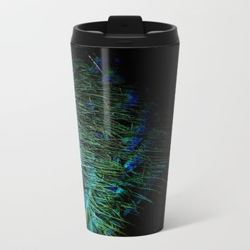 Peacock Details Metal Travel Mug by ARTbyJWP