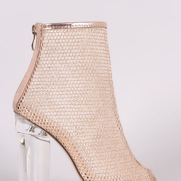Glitter Honeycomb Mesh Chunky Perspex Heeled Booties