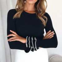 New women's solid color round neck three-layer sleeve sweater temperament commute