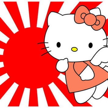 Hello Kitty Japanese Flag Cartoon Poster 11x17