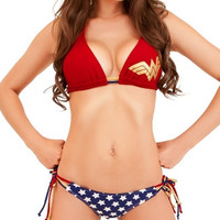 Wonder Woman Halter Bikini with String Tie Bottom