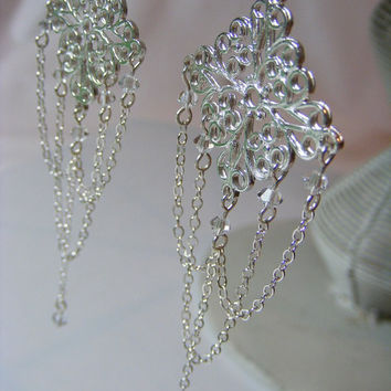 Fine Filigree & Chain Sterling Silver and Crystal Chandelier Earrings by Passionflower Jewellery Designs