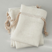 Faux Burlap Pouch Bags, 3-inch x 4-inch, 6-pack, White
