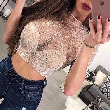 High-Neck Glitter Bombshell Top