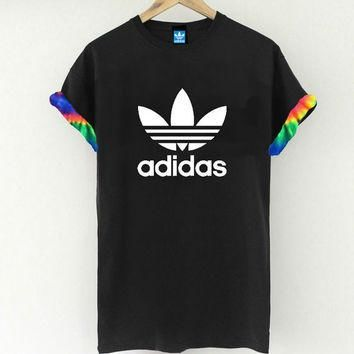 Unisex Authentic Adidas Originals Custom Cut & Sew Neon Tie dye Cuff Tee