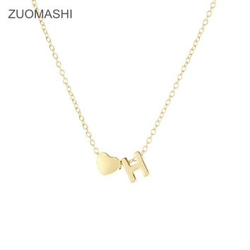 New Fashion Dainty 26 letters and Heart charm Necklace Personalized chain Necklace initial Name Jewelry friend gift collar