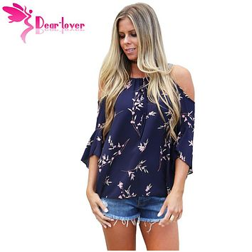 Dear Lover Spring 2018 Blouse Women Chiffon Boho Style half sleeve Navy Blue Cold Shoulder Blossoms Top blusas feminina LC250305