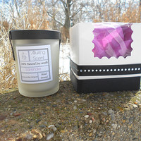 Lavender wood wick, natural soy candle.