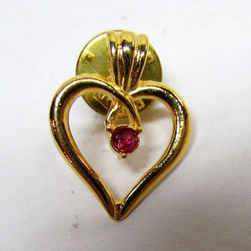Vintage Gold Tone Heart Pin, Costume Jewelry