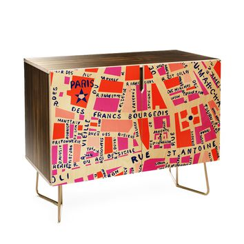 Holli Zollinger Paris Map Pink Credenza