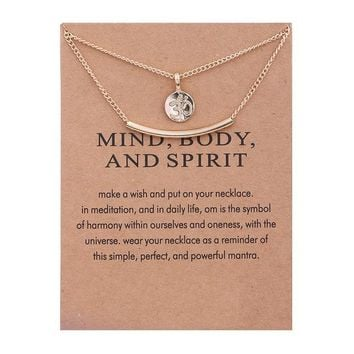 Golden Color Plated Yoga Meditation Symbol Double Layer Clavicle Bone Short Necklace
