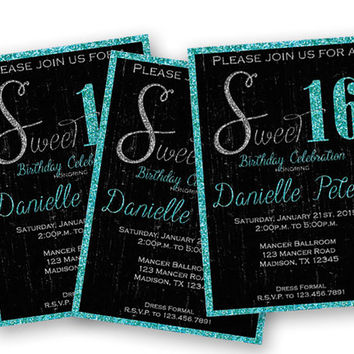 Black and Turquoise Glitter Sweet 16 Birthday Invitations - Grunge Sweet Sixteen Invitation - Trendy Blue - Black - Sweet 16 Birthday Bash
