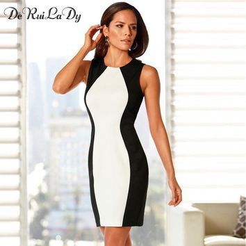 DeRuiLaDy Women Sleeveless and Long Sleeve Vest Dresses Big Size Black And White Splice Sexy Dress Vintage Office Bodycon Dress
