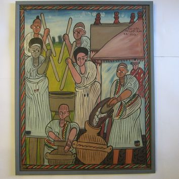 Ethiopian Folk Art Ethnic Painting On Canvas Scripted Signed