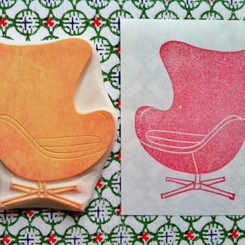 egg chair rubber stamp - hand carved rubber stamp - mid century inspired - handmade - no1