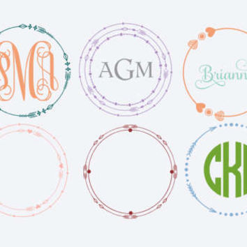 Yeti Monogram boho arrow decals, vinyl decals arrow monogram frames, glitter or non glitter, car decal, 6 frames, 4 font styles, 70+ colors