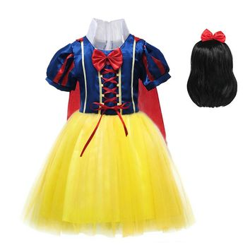 Girls Snow White Dress Children Princess Halloween Party Cosplay Costume with Wig Lantern Sleeve Dress with Cloak Fancy Clothes