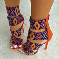 Fashion hot selling women's high heels with print sandals trend open-toe heels