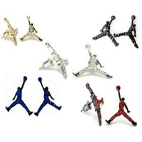 Set of 10 Michael Jordan Inspired Stud Earrings Jumpman GOLD/SILVER/RED/BLUE/BLACK/ORANGE Iced CZ