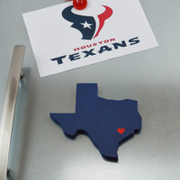 "Houston Texans ""State Heart"" Magnet, handcrafted wood with official team colors"