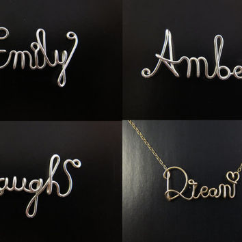 Sterling Silver Wire Name Necklace, Cursive Wire Name Necklace, Personalized Wire Name Necklace, Name Plate Necklace, Wire Word Necklace