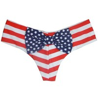 American Flag Bow Cheeky Bikini Bottoms