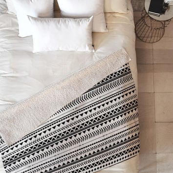 Allyson Johnson Black And White Aztec Pattern Fleece Throw Blanket
