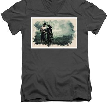 Watercolor Conseptual Landscape - Deep In The Forest - Men's V-Neck T-Shirt