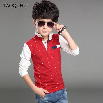 Top Quality Kids Children Boy Polo Shirts School Uniform Clothing Long Sleeve Cotton P