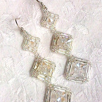 Clear crystal triple square shape bugle beadwork long drop earrings
