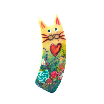 Cat pin, Cat brooch named EMIL - Unique Art Brooch - polymer clay kitty with a red Heart - green, yellow, turquoise, red, blue, gold leaf
