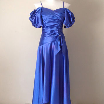 Vintage Satin Dress / Royal Blue / Puff Sleeves / Princess Gown / Rhinestone / Vintage Satin Dress / Evening Gown / Ball Gown / Drop Waist