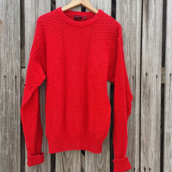 Vintage Men's Red Christmas Sweater - Made in USA - Size S/M