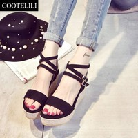 COOTELILI 35-39 Ladies Sandals Fashion Summer Platform Narrow Band Buckle Women Sandals Open Toe Wedges Shoes for Women Boots