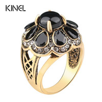 2015 High Quality Fashion Party Ring For Women Black Green Turquoise Flower Type Vintage Ring Free Shipping