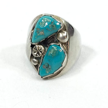 Mens Navajo Turquoise Ring, Sterling Silver Feather Motif, Native American Ring, Hallmarked, Statement Jewelry, Vintage Jewelry