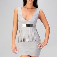 Peplum Fringe Bandage Dress - Diva Hot Couture