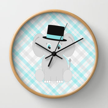 Boy Baby Elephant Print Wall Clock by CandyBoxDigital