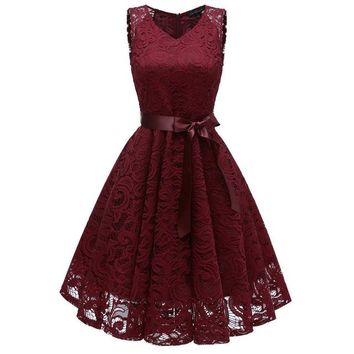 Women's Vintage V Neck Sleeveless Belt Tunic Floral Lace Wedding Party Tank Dress Bridesmaid A Line Dresses Robe Vestidos