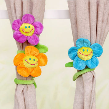 Cartoon Curtains Clip Sunflower Plush Flexible Tieback  clamps for curtains Toy Home Dcor plush flower Lovely Girls Gift